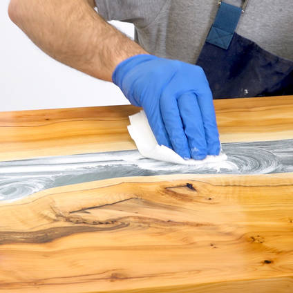 Applying NW1 Polishing Compound to a Resin River Table